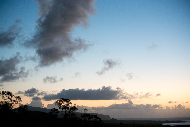 the first sunset on the Easter Islands