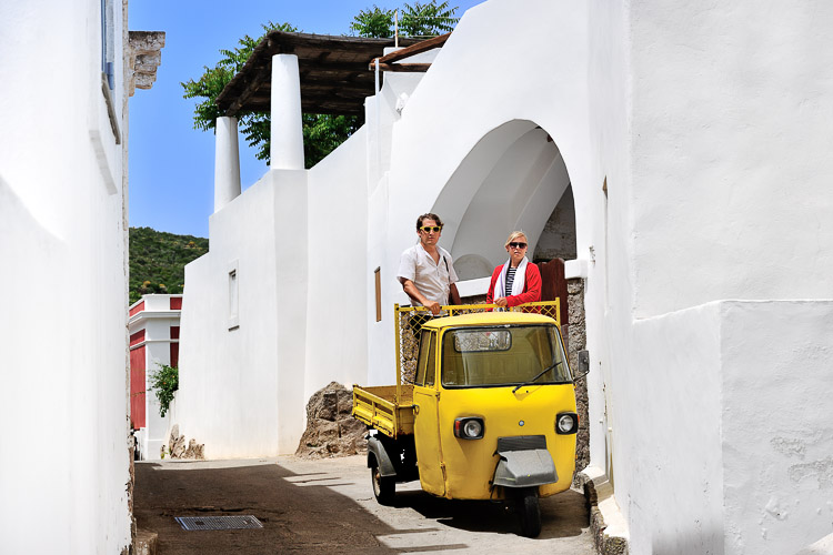 Panarea town with yellow Ape
