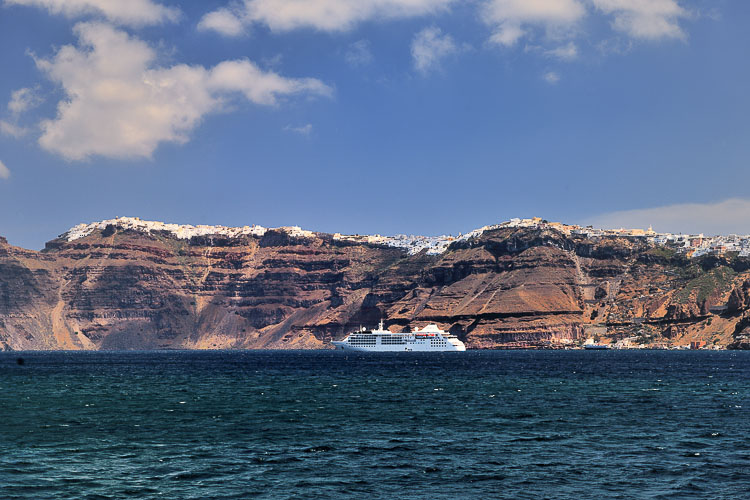 Arriving in Santorini (and that's not our cruise ship)