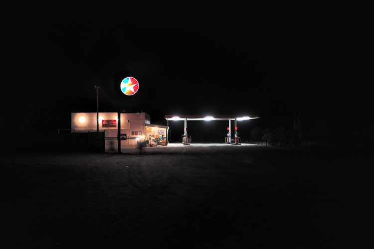 Pitch dark Springbox & the only lit fuel station in town.